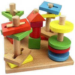 Børn Trælegetøj Fem Kolonne Suit Farverige Building Blocks
