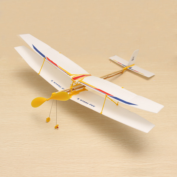 DIY Assembly Aircraft Powered By Rubber Band For Kids Game & Scenery Toy