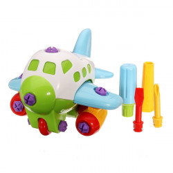 DIY Assembly Plastic Kids Cartoon Airplane Education Toys With Tool