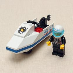 Erleuchten Polizei Motorboot Buliding Blocks Versammlung Brick pädagogisches Spielzeug