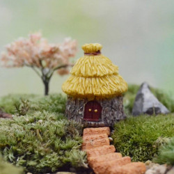 Fairy Garden Miniature Dome Thatched House Micro Landscape