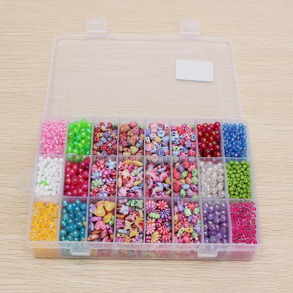 Handgjorda DIY Rainbow Pärlor 24 Case med Boxas Pedagogiska Leksaker