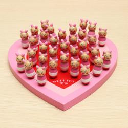 Heart Shape Animal Træ Kinesiske Checkers Legetøj Pædagogisk Legetøj
