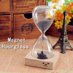 Iron Powder Magnet Hourglass With Wooden Holder Dsek Toy