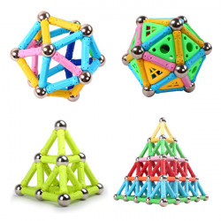 Magnetic Stick Flexible Rod 12PCS Steel Ball 10PCS Assembly Children Toy