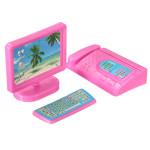 Miniature Pink Computer Faxgerät Möbel für Barbie Puppenhaus Spiel