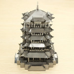 PIECECOOL Gul Lyftkran Torn DIY 3D Laser Cut Modeller Pussel Modellbyggsatser