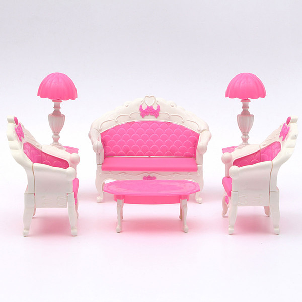 Pink Dollhouse Furniture Living Room Parlour Sofa Set Game & Scenery Toy