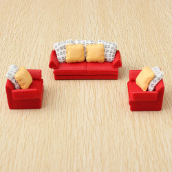 The Model Material Indoor Scene Decoration Red Sofa Set