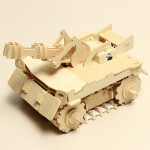 Trä Pansarvagn RC Bil 3D Stereo DIY Trä Montering Pussel Modellbyggsatser
