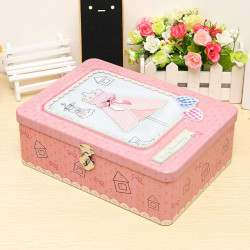 Zakka Tin Boxes With The Lock Pink Rectangle