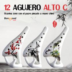 12 Hål Alto Tonart C Okarina med Kinesiska Handmålade Mönster