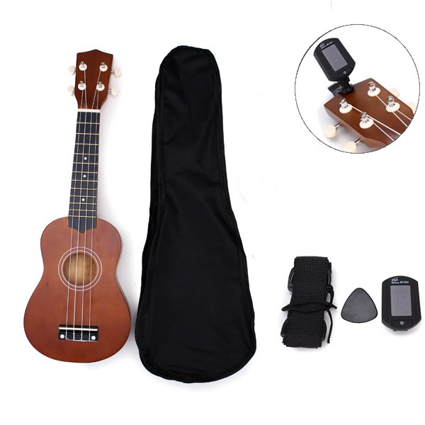 21 Inch Acoustic Soprano Hawaii Ukulele With Guitar Tuner And Gig Bag Musical Instruments