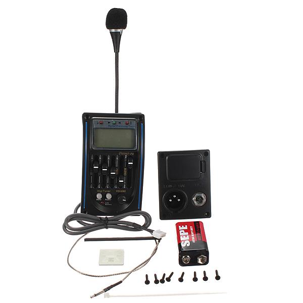 5Band Akustikgitarre Vorverstärker EQ Equalizer Piezo Pickup Tuner w / C MIC Musikinstrumente