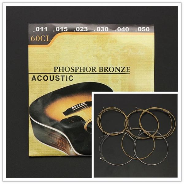 60CL (.011-.050) Phosphor Bronze Wound Steel Acoustic Guitar Strings Musical Instruments