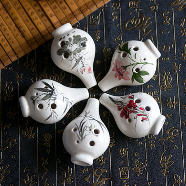 6 Hole Alto C Tone Ocarina With Chinese Hand-painted Crack Pattern Musical Instruments