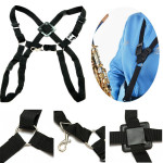Black Adjustable Tenor Baritone Sax Harness Double Shoulder Strap Musical Instruments