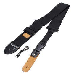 Black Guitar Strap Adjustable Length 85-145cm for Acoustic Electric Guitar Bass