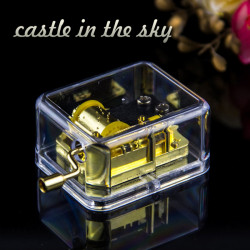 Castle In The Sky Hand Crack Transparent Golden Square Music Box