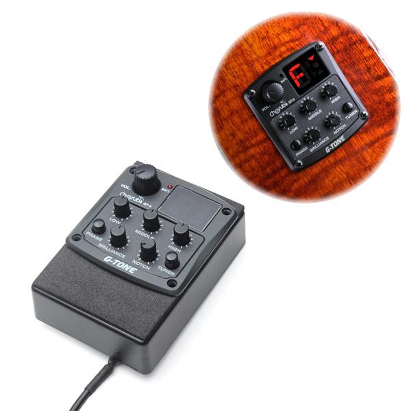Cherub G-Ton 3-Band EQ Equalizer Akustisk Gitarr Preamp Pickup Tuner Musikinstrument