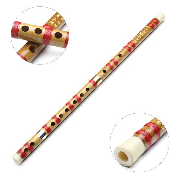 Kinesiska Musikinstrument G Key Bambuflöjt med Soft Pouch för Nybörjare Musikinstrument