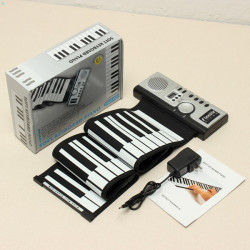 KONIX 61 Keys Flexible Roll Up Electronic Soft Keyboard Piano Portable