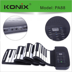 KONIX 88 Key MIDI Flexibel Silikon Electronic Roll Up Piano PA88