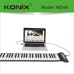 KONIX USB 49 Key MIDI Flexibel Silikon Electronic Roll Up Piano MD49