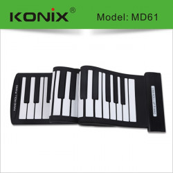 KONIX USB 61 Key MIDI Flexibel Silikon Electronic Roll Up Piano MD61