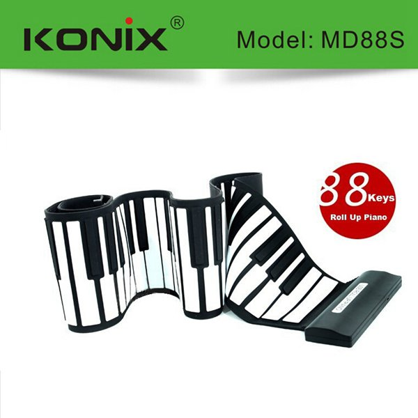 Konix USB 88 Tasten MIDI flexible Silikon elektronische Roll Up Piano MD88S Musikinstrumente