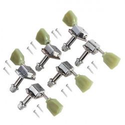 Kluson 6 In 1 Style Stämmning Keys Tuners Head Pegs Chrome Green Head