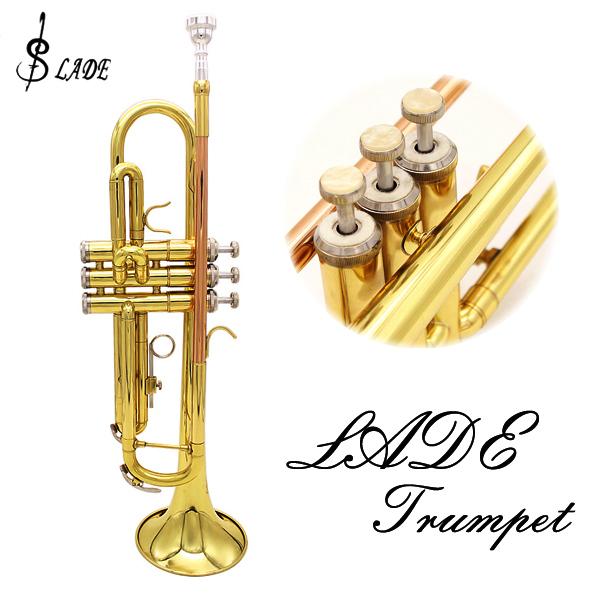 LADE Bb Copper Golden Trumpet Brass Band med Glove Brush Clean Cloth Musikinstrument