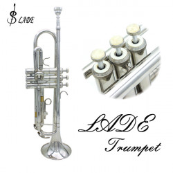 LADE Bb Silver Trumpet Brass Band With Gloves Brush Clean Cloth