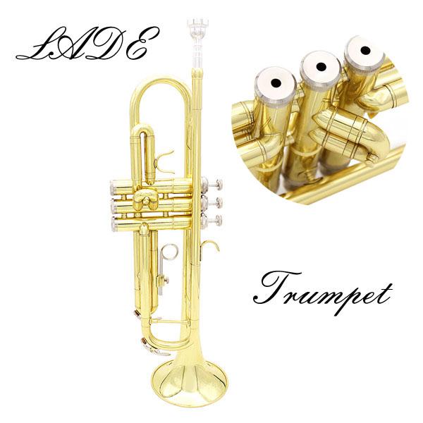 LADE Gold Trompete B b Wohnung Blechbläser Trompete mit Hülle & Zubehör Musikinstrumente