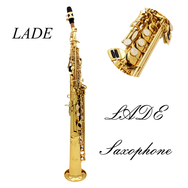 LADE Saxophone Bb Soprano Saxophone Paint Gold med Case & Tilbehør Musikinstrumenter