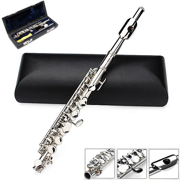 LADE Silver Pläterad C Piccolo Flöjt med Mål Musikinstrument
