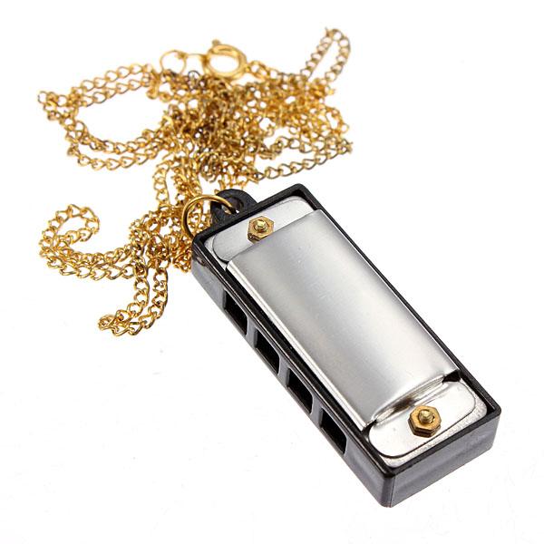 Mini 4 Hål 8 Tone Munspel Sound med 34cm Halsband Golden Musikinstrument