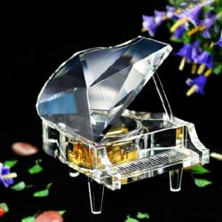 Philco Yunsheng Gold überzogen Spiralfeder Kristall Piano Music Box