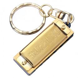 SUZUKI Mini 5 Holes 10 Tone Harmonica Keychain Key of C Gold