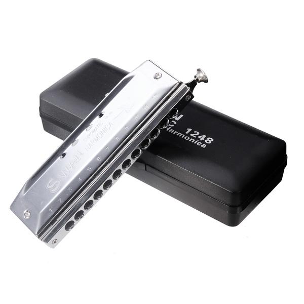 Swan 12 Hål 48 Tone Kromatiskt Munspel SW1248 Musikinstrument