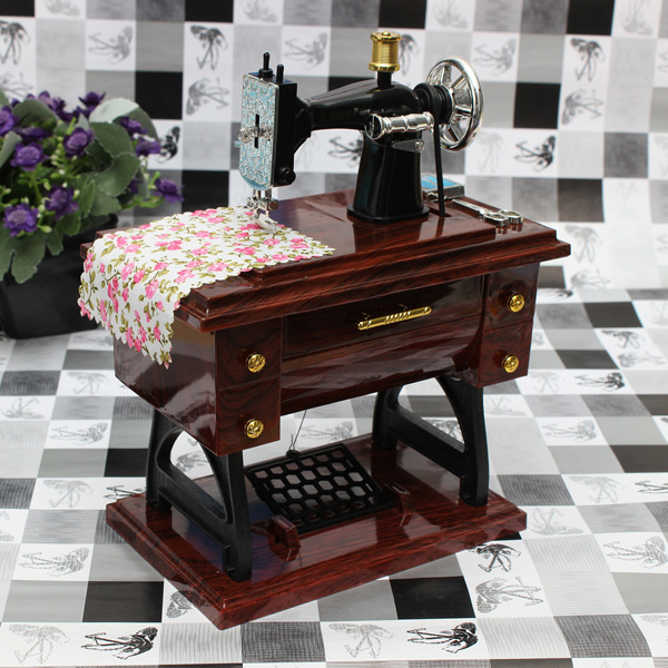 Weinlese Mini Nähmaschine Mechanical Music Box Geburtstagsgeschenk Musikinstrumente