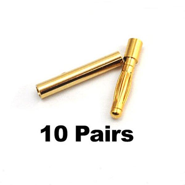 10 par 2mm Guld Bullet Banana Connector Plug For ESC Batteri Motor