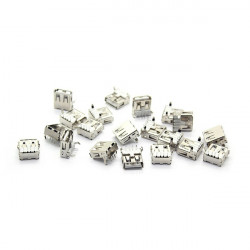 20 PCS USB Type-A Female 4 Pin PCB Mount Socket Connector 90 Degree