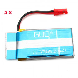 3.7V 750mAh 25C Batteri for WLs V626 V636 RC Quadrokopter Droner 5stk