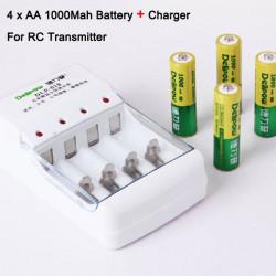 4x AA 1000Mah Batterie + Ladegerät für Hubsan X4 H107D Transmitter