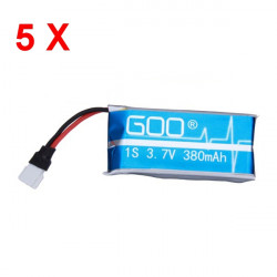 5 stk Nine Eagle GOO Upgraded 3,7V 380mAh 1S 30C Li Po Akku