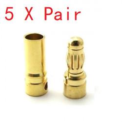 5X Par 4mm Guld Bullet Connector Banankontakt för ESC Batteri Motor