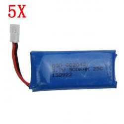 5x3.7V 500mAh Batteri för Hubsan X4 H107 H107L H107C H107D V252 JXD385