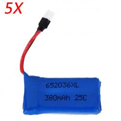 5 X Uppgraderad 25C 3.7V 380MAH Batteri för Hubsan H107 X4 Nyckelpiga