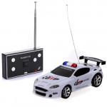 Fyra Färg Mini Fjärrkontroll RC Polisbil med LED-ljus Radiostyrt